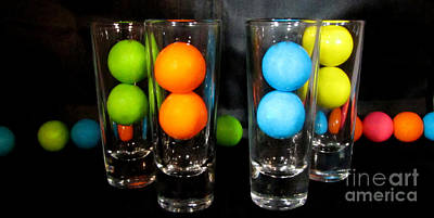 Gumballs In Shot Glasses Art Print