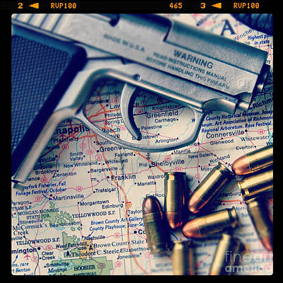 Photograph - Gun And Bullets On Map by Jill Battaglia