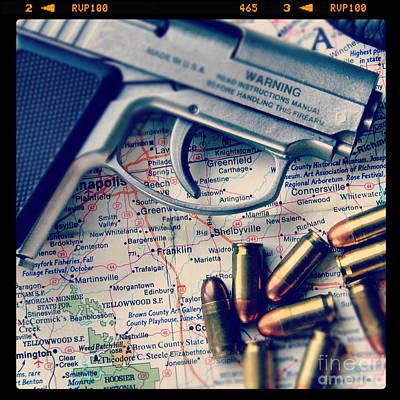 Gun And Bullets On Map Art Print by Jill Battaglia