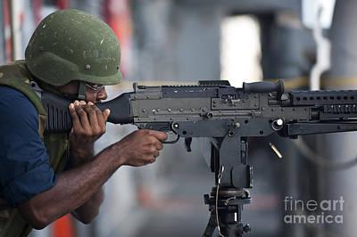 Gunners Mate Fires An M240g Light Art Print