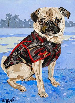 Dog In Landscape Mixed Media - Gus by Alyson Champ