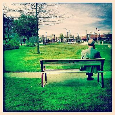 Money Wall Art - Photograph - #guy #old #man #sit #bench #grass #chill by Kee Yen Yeo