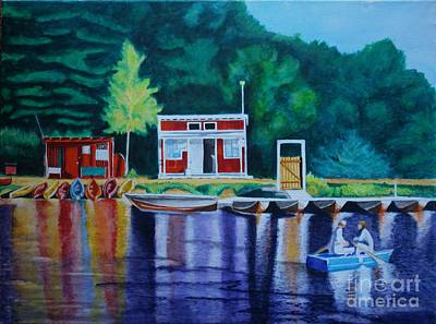 Painting - Gvl Boaters by LJ Newlin
