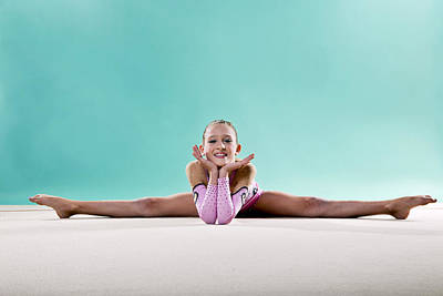 Hair Bun Photograph - Gymnast, Smiling, Side Split, Head On Hands by Emma Innocenti