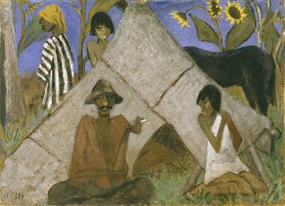 Encampment Painting - Gypsy Encampment by Otto Muller or Mueller