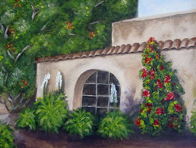 Spanish Villa Painting - Hacienda by Merlene Pozzi