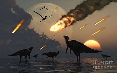 Digital Art - Hadrosaurs Graze Peacefully As Burning by Mark Stevenson