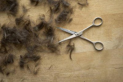 Photograph - Hair And Scissors On Table by Matthias Hauser