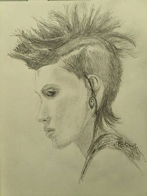 Drawing - Hair Style by Nicolas Bouteneff