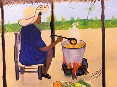 Painting - Haitian Pumpkin Soup by Nicole Jean-Louis