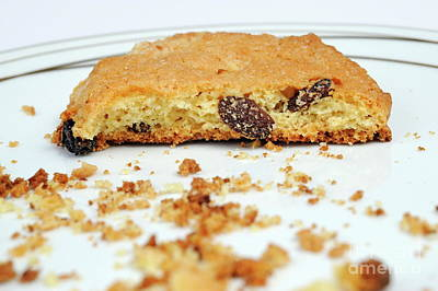 Half Cookie And Crumbs In Plate Art Print by Sami Sarkis
