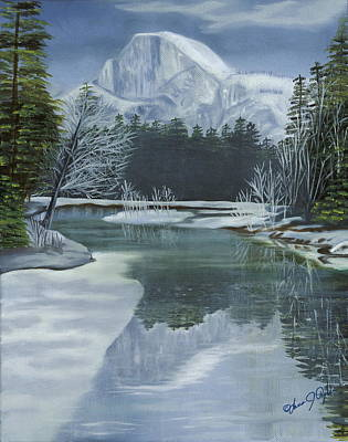 Half Dome Painting - Half Dome Reflections by Lana Tyler