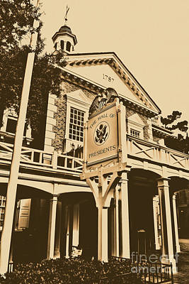 Digital Art - Hall Of Presidents Exterior Walt Disney World Prints Rustic by Shawn O'Brien