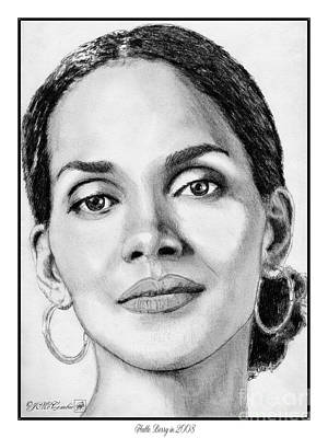 Art Print featuring the drawing Halle Berry In 2008 by J McCombie