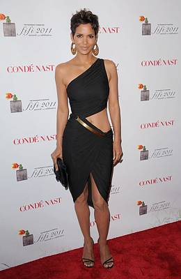 Bellybutton Photograph - Halle Berry Wearing A Halston Dress by Everett