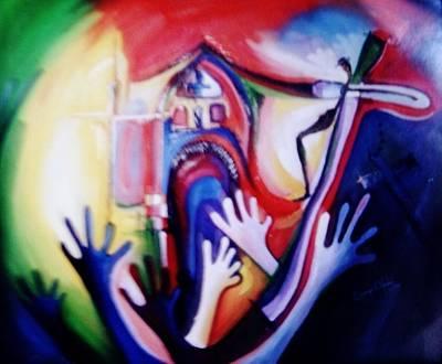 Art Print featuring the painting Hallelujah At Cathedral by Oyoroko Ken ochuko