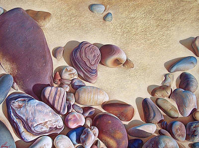 Beach Landscape Drawing - Hallett Cove's Stones by Elena Kolotusha