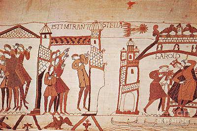 Tapestries - Textiles Photograph - Halleys Comet, Bayeux Tapestry by Photo Researchers