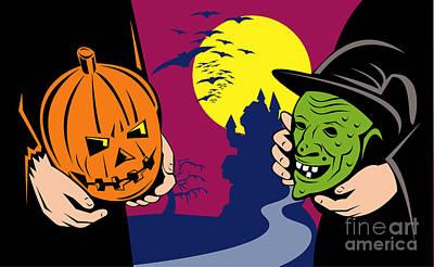 Halloween Mask Jack-o-lantern Witch Retro Print by Aloysius Patrimonio