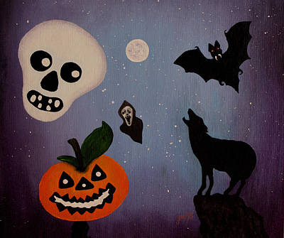 Halloween Night Original Acrylic Painting Placemat Art Print by Georgeta  Blanaru