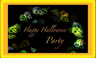 Masquerade Card Mixed Media - Halloween Party by Debra     Vatalaro