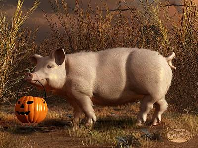 Halloween Pig Art Print