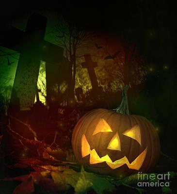 Photograph - Halloween Pumpkin In Spooky Cemetery by Sandra Cunningham