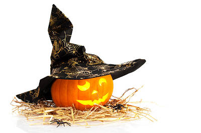 Bed Photograph - Halloween Pumpkin With Witches Hat by Amanda Elwell