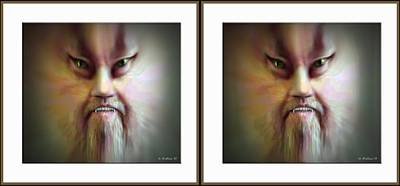 Halloween Self Portrait - Gently Cross Your Eyes And Focus On The Middle Image Art Print