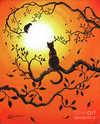 Orange Sun Painting - Halloween Sunset by Laura Iverson