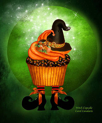 Pumpkin Mixed Media - Halloween - Witch Cupcake by Carol Cavalaris