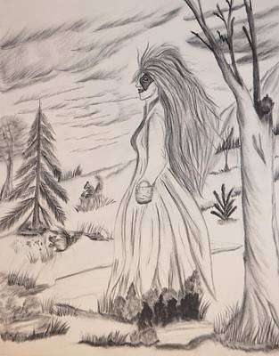 Art Print featuring the drawing Halloween Witch Walk by Maria Urso