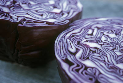 Halved Red Cabbage Art Print by Maxine Adcock
