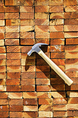 Work Tool Photograph - Hammer And Stack Of Lumber by Garry Gay