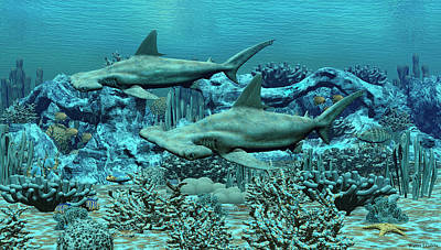Digital Art - Hammer Head Sharks by Walter Colvin