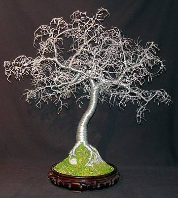 Sculpture - Hammered Leaves Bonsai  by Sal Villano
