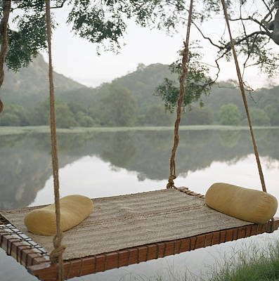 Y120831 Photograph - Hammock On Tree By Still Rural Lake by Laurie Castelli
