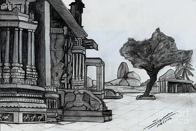 Shashi Kumar Drawing - Hampi Stone Structure by Shashi Kumar