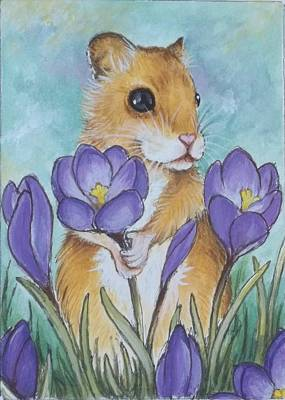 Hamster Picking Purple Crocus Art Print by Debrah Nelson