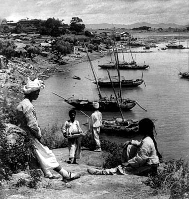 Photograph - Han River Junk Boats - Yung San - Korea - C 1904 by International  Images