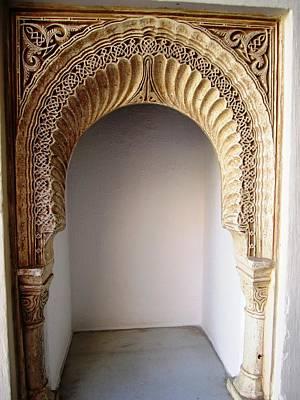 Photograph - Hand Carved Arabic Design Wall Decor Columns Granada Spain by John Shiron