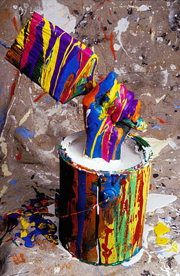 Hand Coming Out Of Paint Bucket Print by Garry Gay