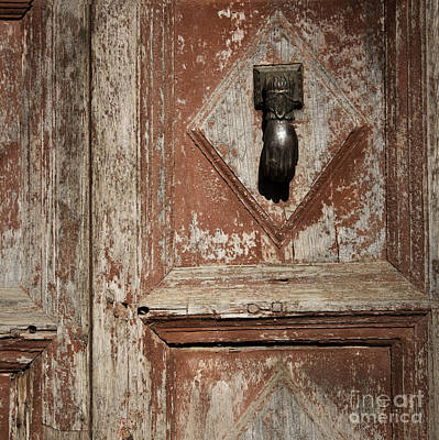 Print featuring the photograph Hand Knocker And Weathered Wooden Doors by Agnieszka Kubica