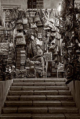 Photograph - Handcrafts Market Bw by Francesco Nadalini