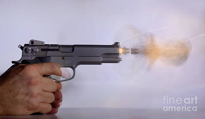 Handgun And .45 Caliber Bullet Double Art Print
