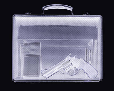 Handgun In Briefcase, Simulated X-ray Print by Mark Sykes