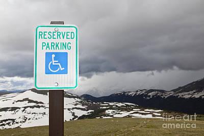 Handicap Parking Sign At A National Park Art Print by Bryan Mullennix