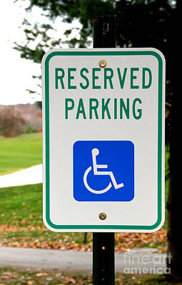 Handicapped Parking Sign Art Print by Photo Researchers