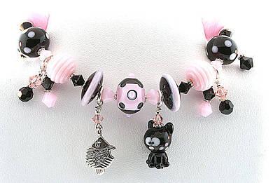 Lampwork Bracelet Jewelry - Handmade Glass Lampwork Black And Pink Cat Bracelet by  Chelsea  Pavloff