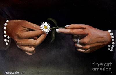 Painting - Hands And Daisy by Kostas Koutsoukanidis